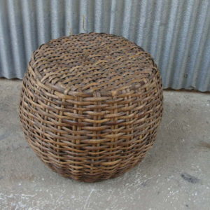 Grey wicker side table