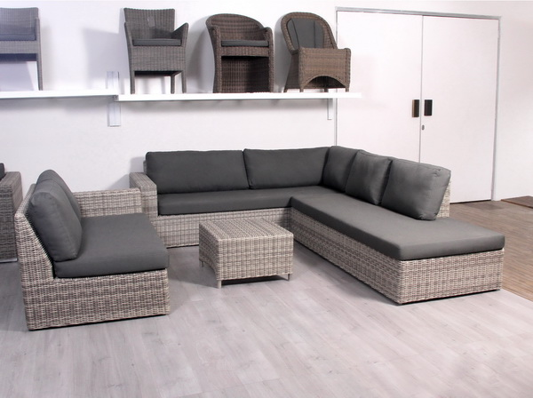 Grey Rattan Outdoor Corner Sofa