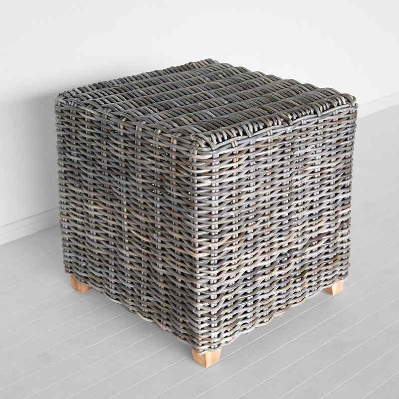 grey rattan side table