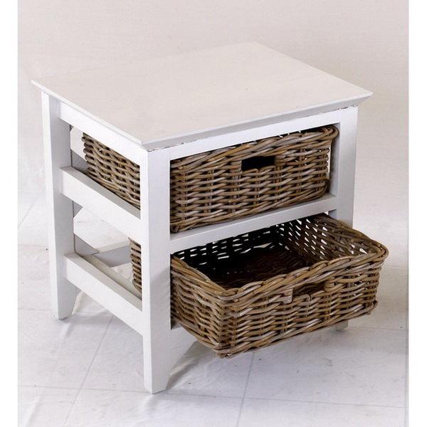 Grey Wicker Basket Storage Unit